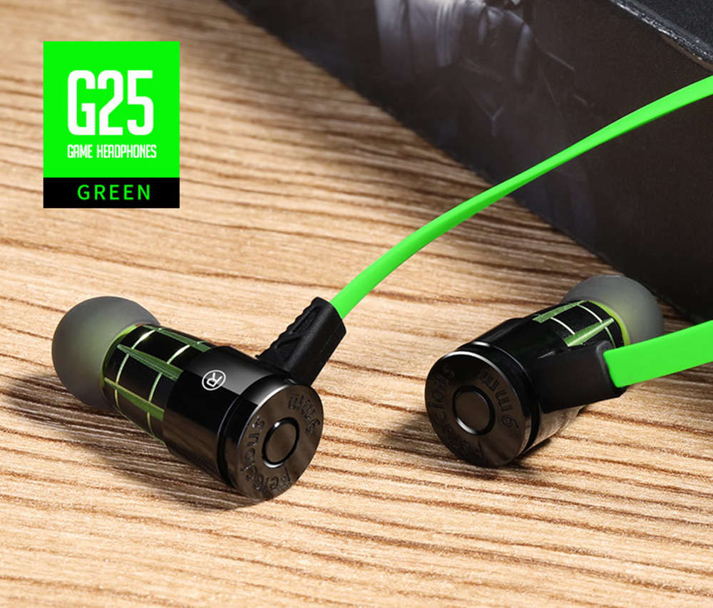 Plextone G25 Stereo Gaming Earphone 3.5mm Jack Heavy Bass Earbuds with Mic and In-line Control- Green