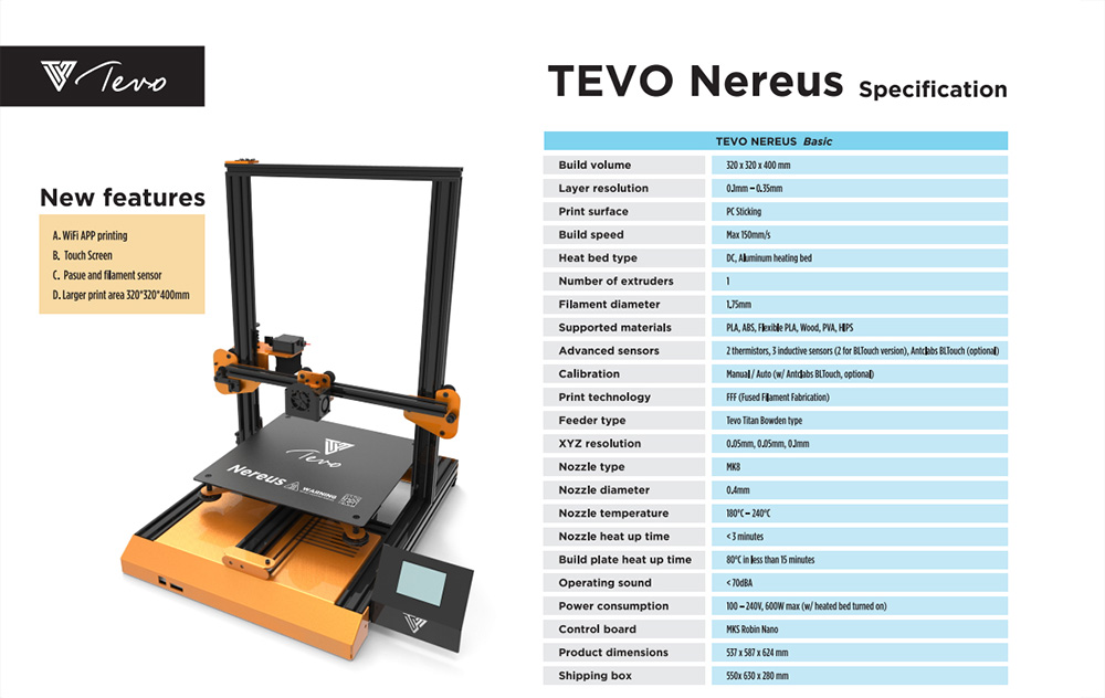 TEVO Nereus Touch Screen 3D Printer- Multi-A US Plug