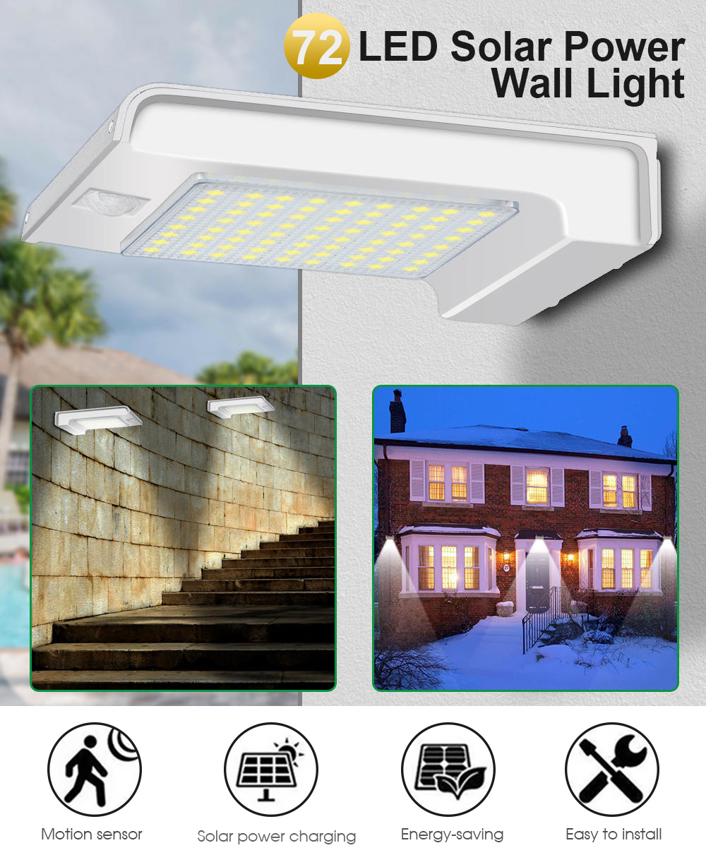 72 Led Solar Power Pir Motion Sensor Wall Light For Outdoor Garden