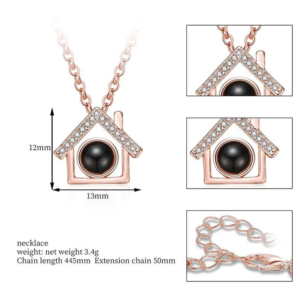 100 Kinds of I Love You Language Love Projection Necklace Small House Modeling- Silver