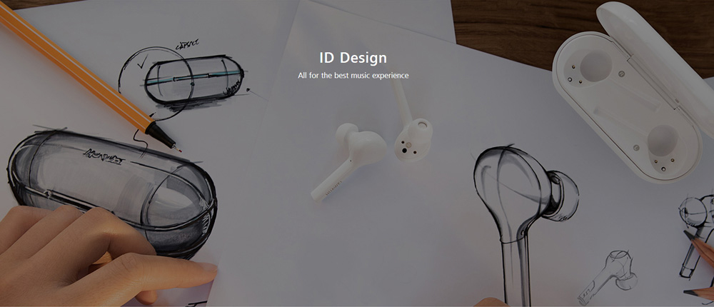 Original HUAWEI HONOR AM - H1C FlyPods Wireless Earphone Bluetooth Touch Binaural Earbuds with Mic and Charging Dock - White
