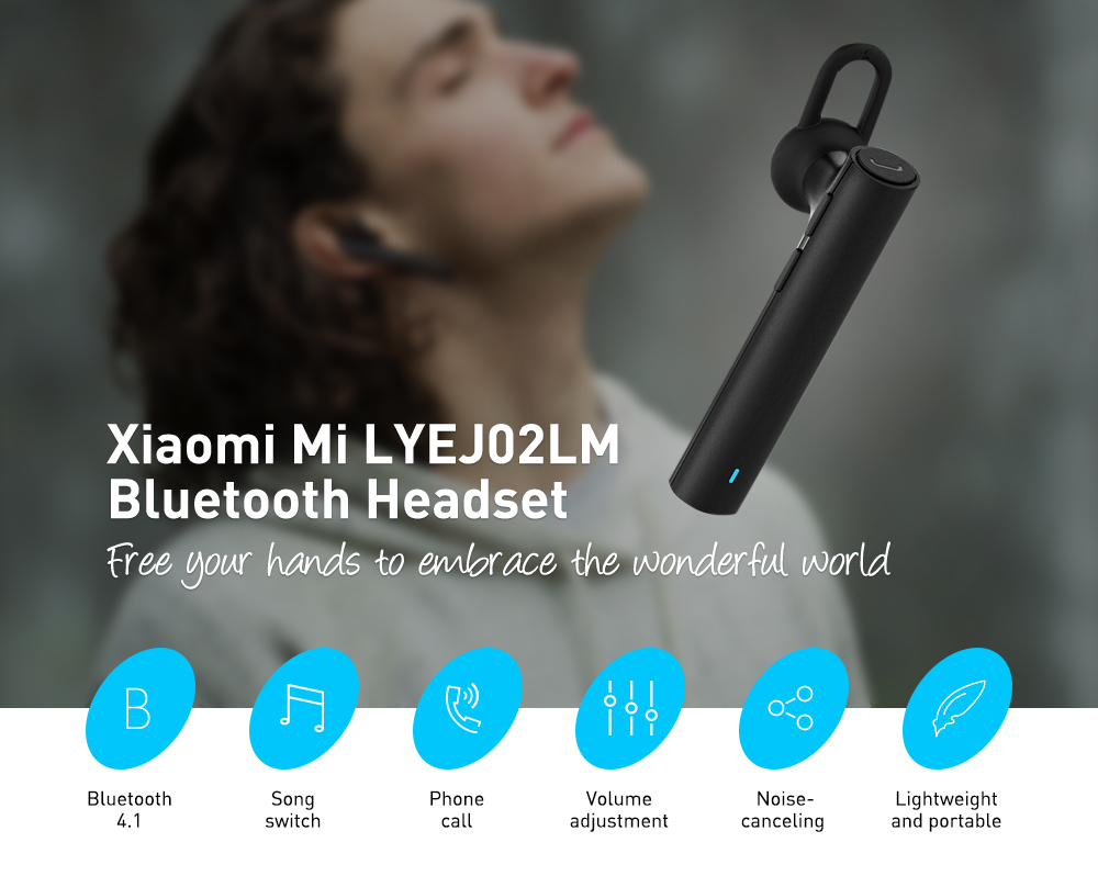 Original Xiaomi Mi LYEJ02LM Bluetooth Headset Built-in Mic Multifunctional On-cord Control- Black