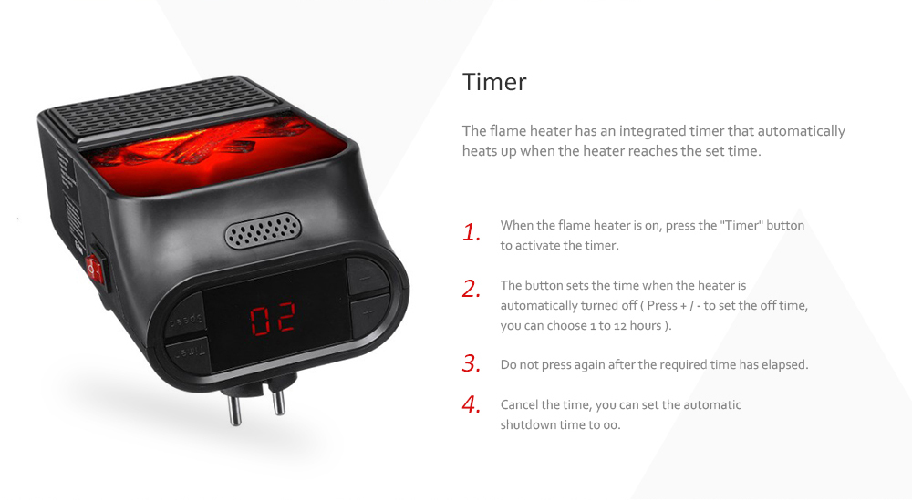 Flame Heater 900W Mini Portable Electric Fireplace Warmer with Remote Control- Black EU Plug