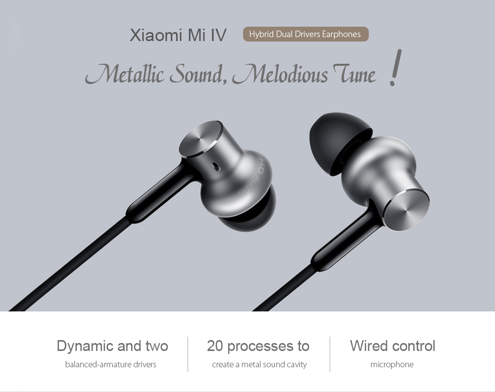 Xiaomi Mi IV In-ear 3.5mm Hybrid Dynamic and Two Balanced-armature Drivers
