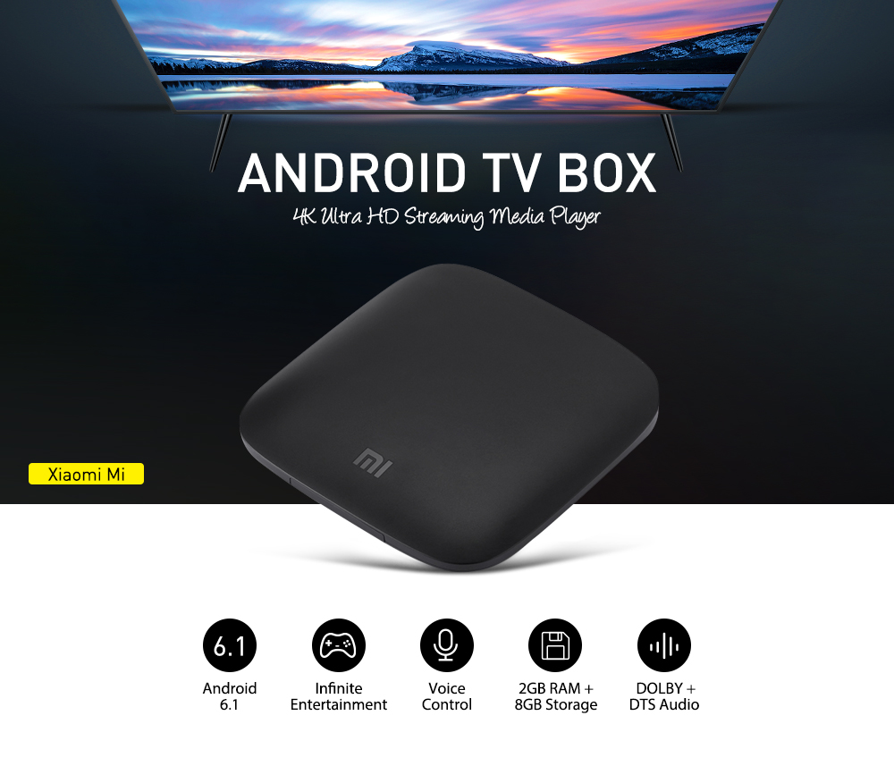 ( Official International Version ) Xiaomi Mi TV Box Quad-core Cortex-A53 4K H.265 VP9 Profile-2 Decoding Dual-band WiFi Dolby DTS 2GB RAM+ 8GB ROM with Bluetooth Voice Remote Control- Black EU Plug