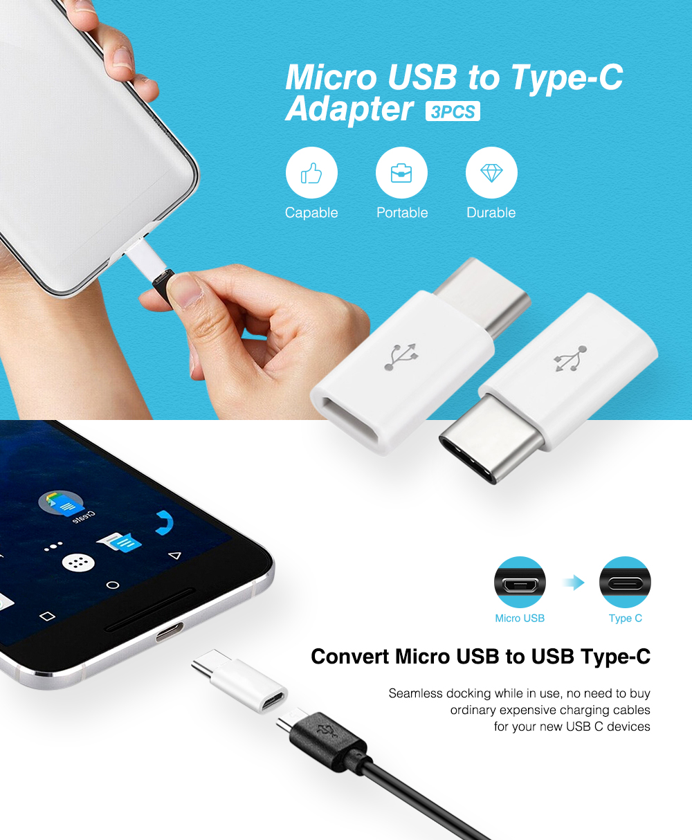 Micro USB to Type-C Adapter 3pcs / Set