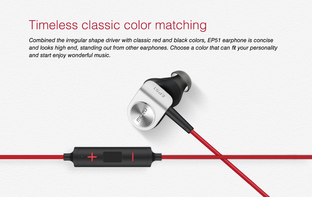 MEIZU EP51 Bluetooth Earphone Wireless Sports HiFi Earbuds International Edition- Love Red
