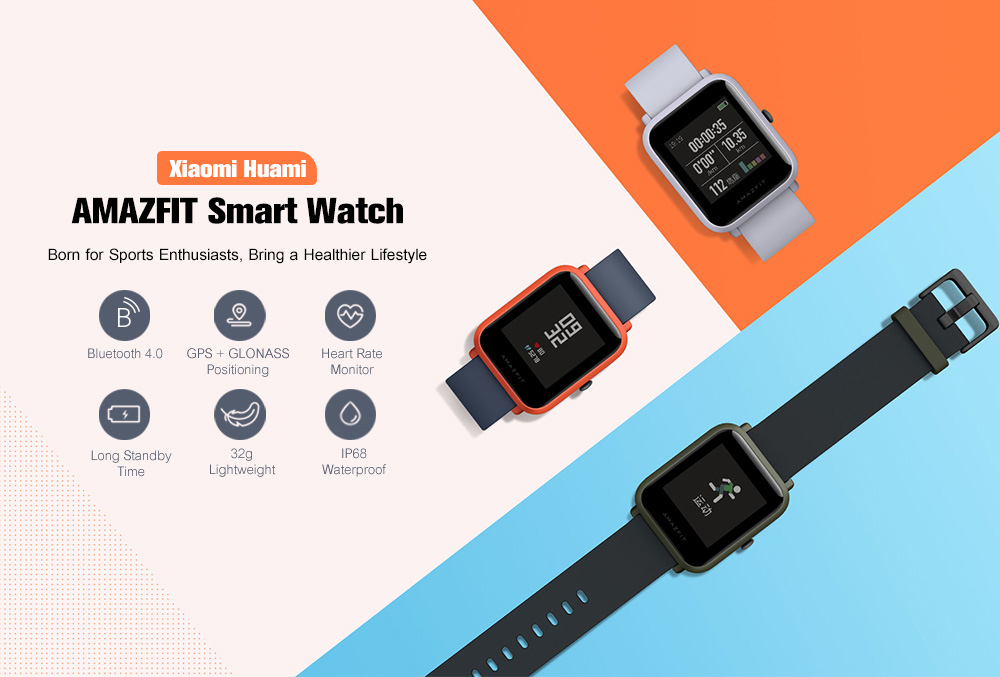 Xiaomi AMAZFIT A1608 Smartwatch International Version with Corning Gorilla Glass Screen Heart Rate / Sleep Monitor Geomagnetic Sensor GPS ( Xiaomi Ecosystem Product )- Light Gray