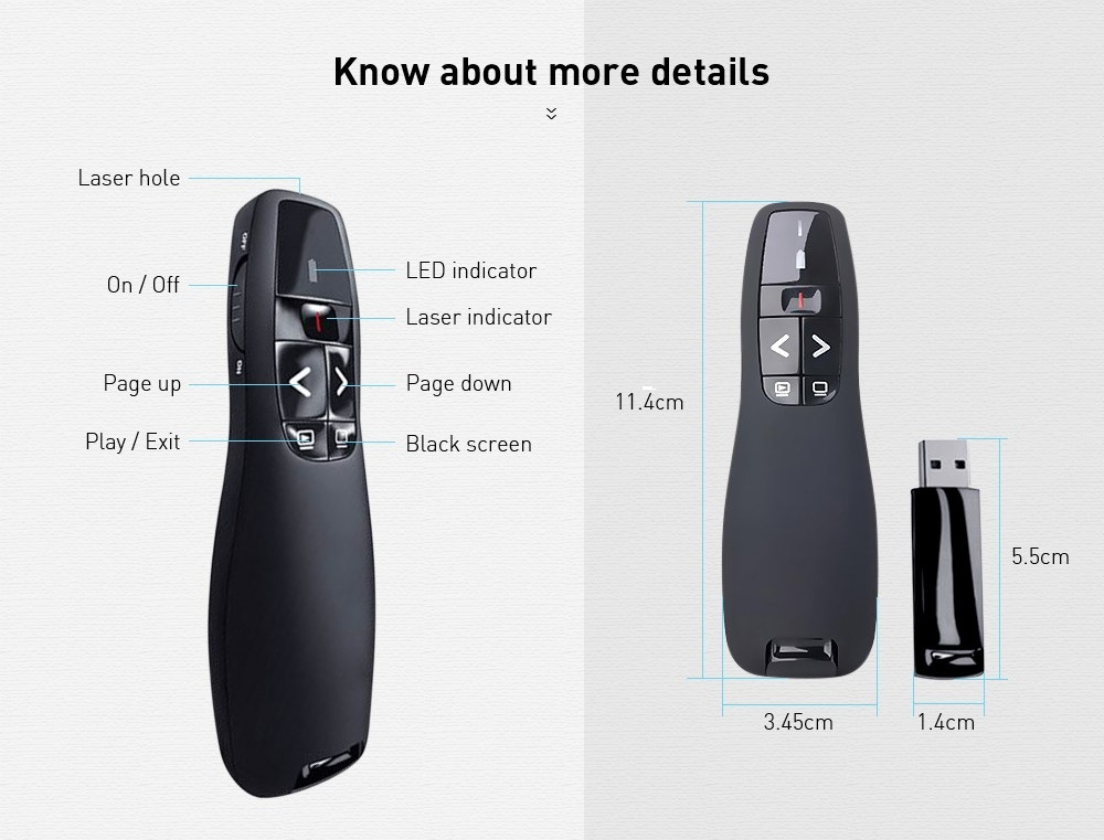 Laser Pointer Wireless Presenter Pen with USB Receiver for Multimedia Presentation- Black