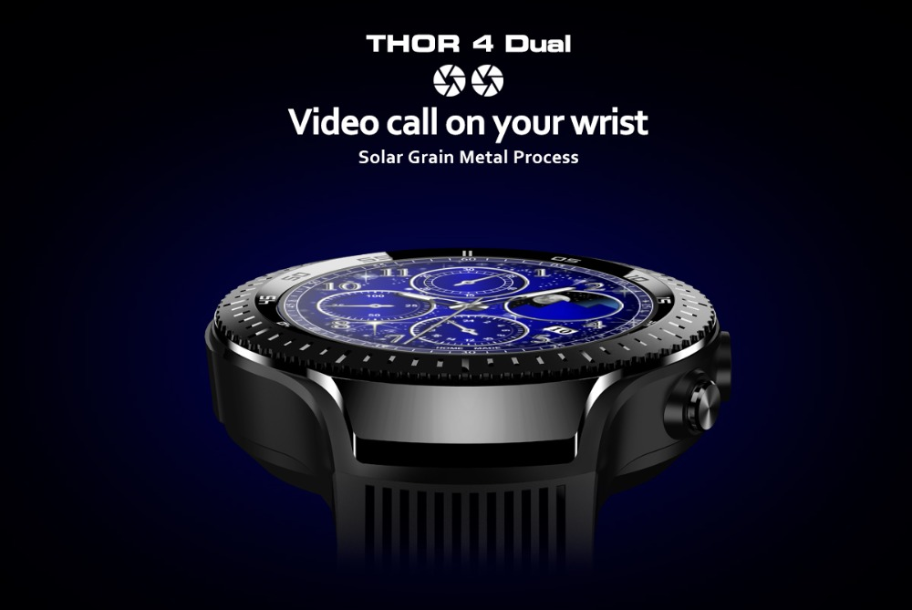 Zeblaze THOR 4 Dual 4GLTE Video Call 5.0MP+5.0MP Dual Camera Android Smart Watch- Black