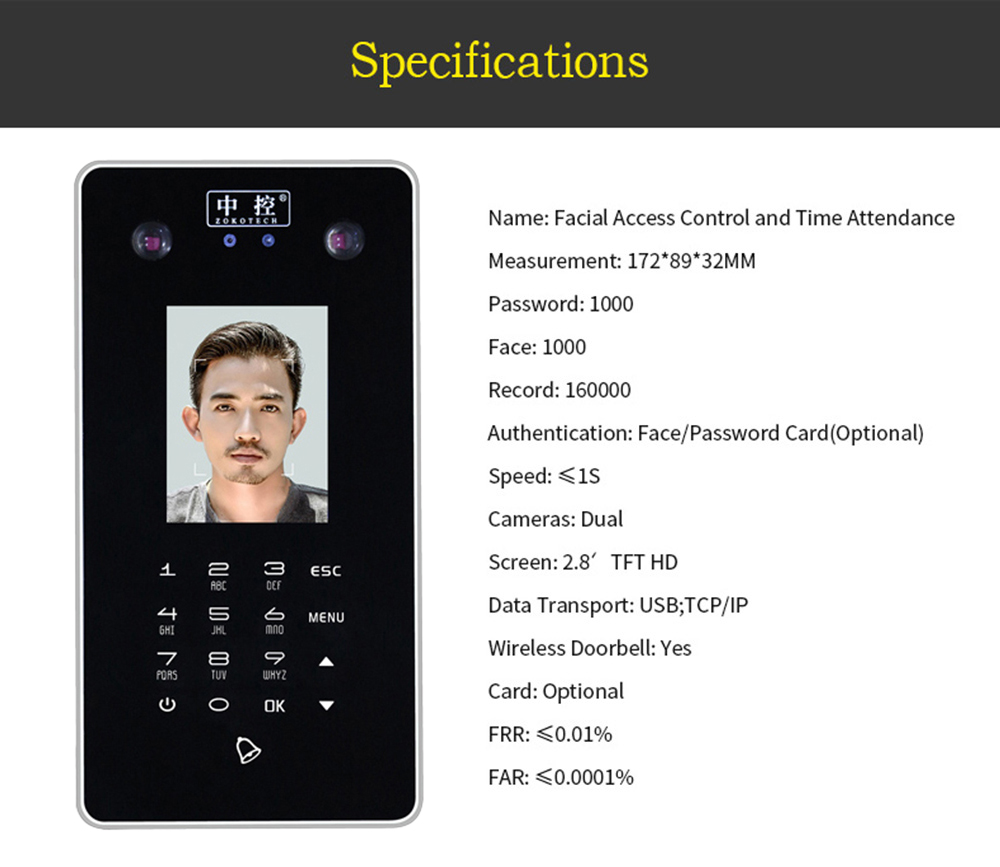 ZK - FA30 Face Recognition Time Attendance Machine Access Control with Dual Camera- Black