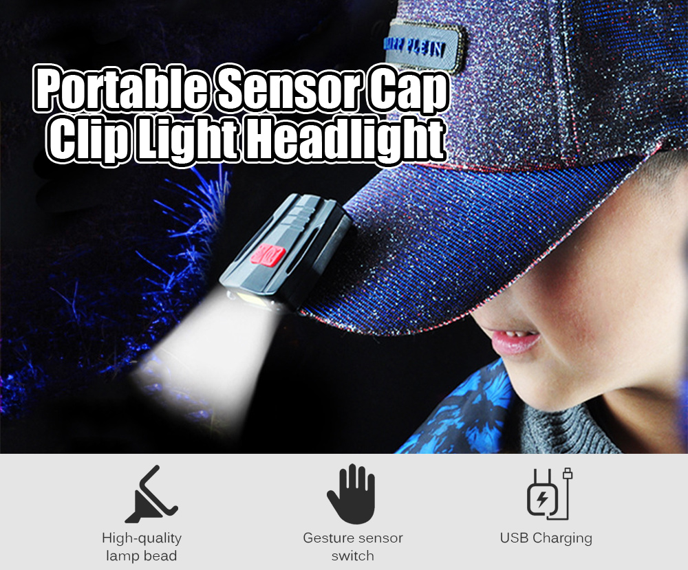 Portable Sensor Cap Clip Light LED Headlight for Outdoor- Black 2810 Double light sensor cap light