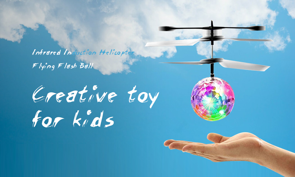 Induction Colorful Lamp Flash Flying Ball Helicopter Toy for Kids- White
