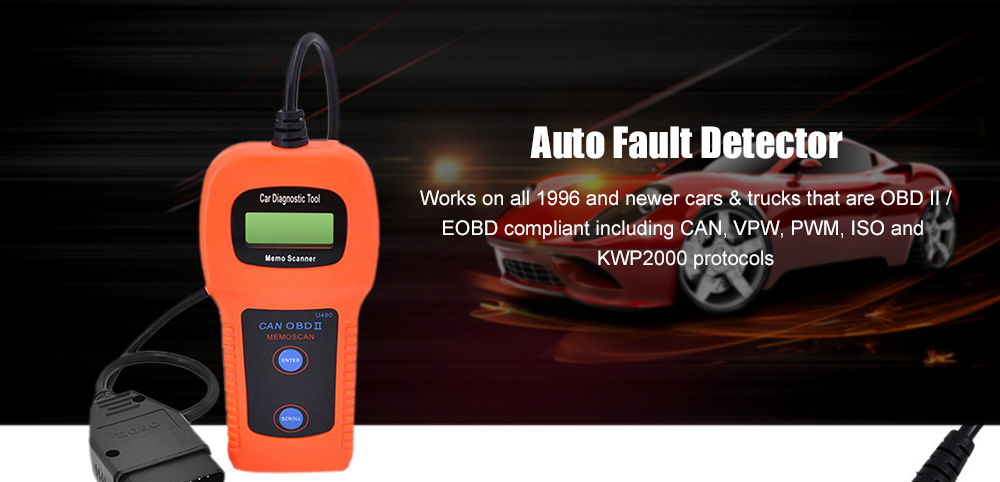 U480 OBD2 CAN BUS Engine Code Reader Car Fault Code Detector