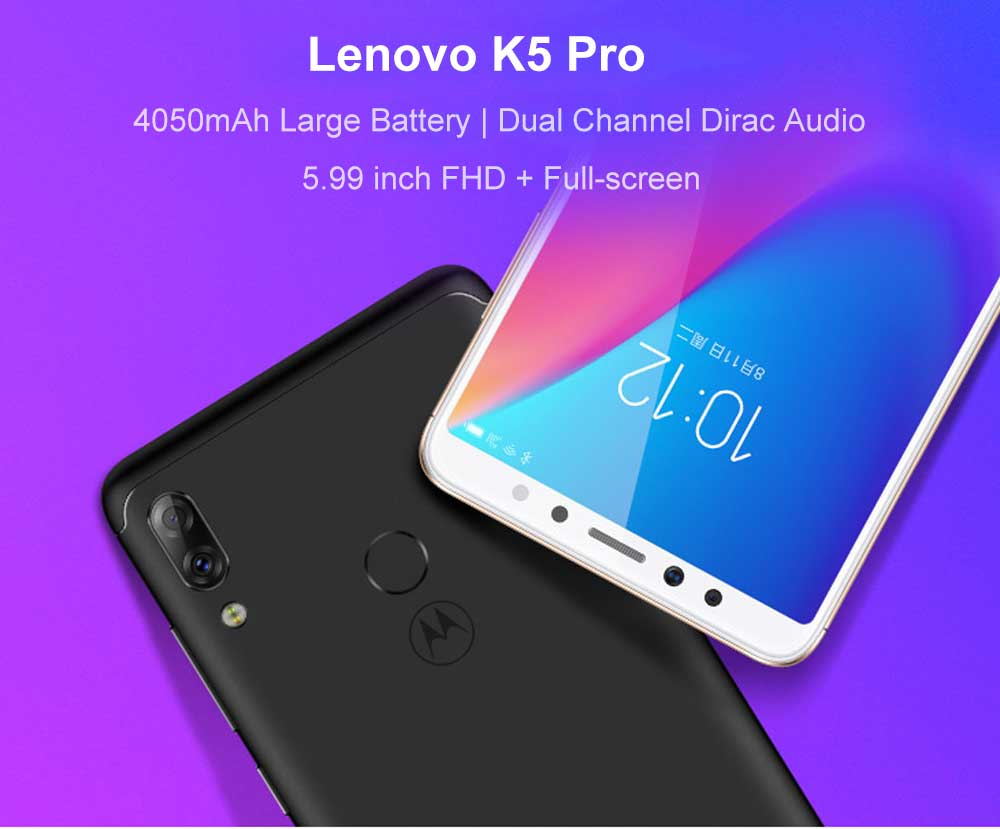 Lenovo K5 Pro 4G Phablet 5.99 inch Android 8.1 Snapdragon 636 Octa Core 1.8GHz 4GB RAM 64GB ROM 16.0MP + 5.0MP Rear Camera Fingerprint Sensor 4050mAh Built-in- Black