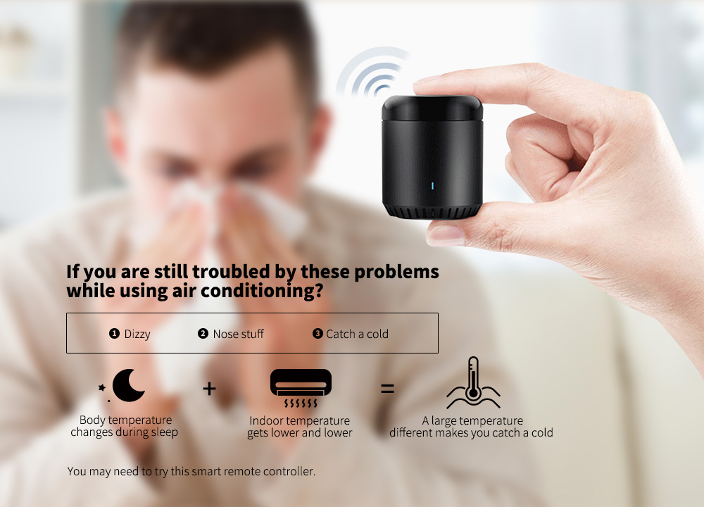 Broadlink RM mini3 Universal WiFi + IR Remote Controller Timing Function for Home Electric Appliances- Black