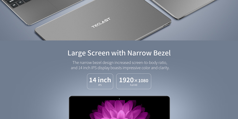 Teclast F7 Plus Notebook 14.0 inch Windows 10 Home Version Intel Gemini Lake N4100 Quad Core 1.1GHz 8GB RAM 128GB SSD HDMI 2.0MP Camera 6500mAh Built-in- Platinum