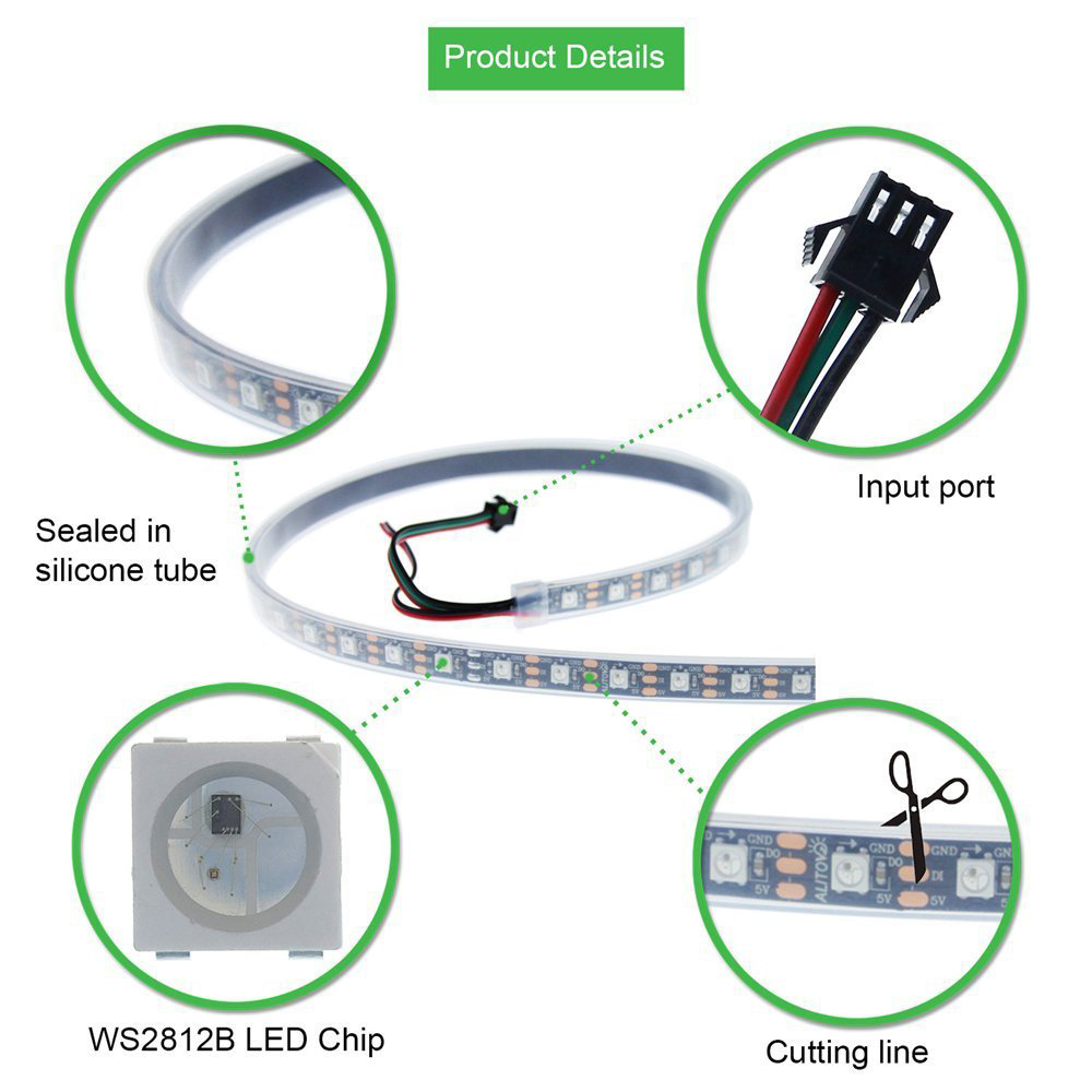 BRELONG Colorful SMD5050 150LED Rubber Waterproof Light Strip 5M Width 10MM - White