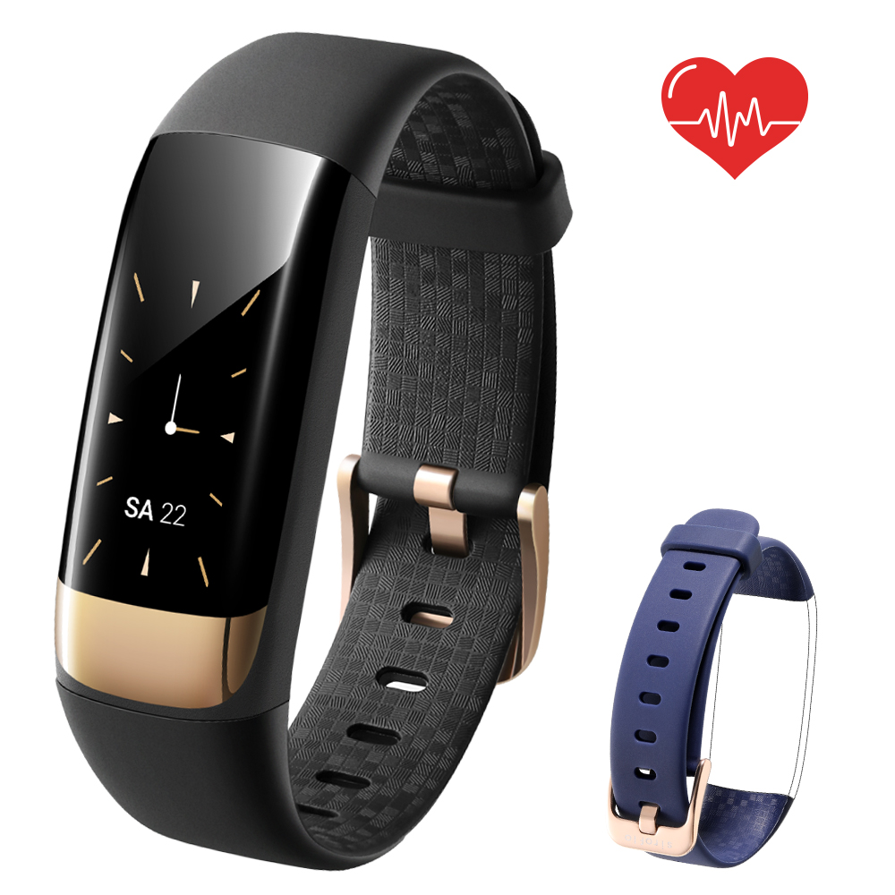 siroflo S1 Smart Wristband with Heart Rate Reminder- Black with Blue Exchangeable Wristband