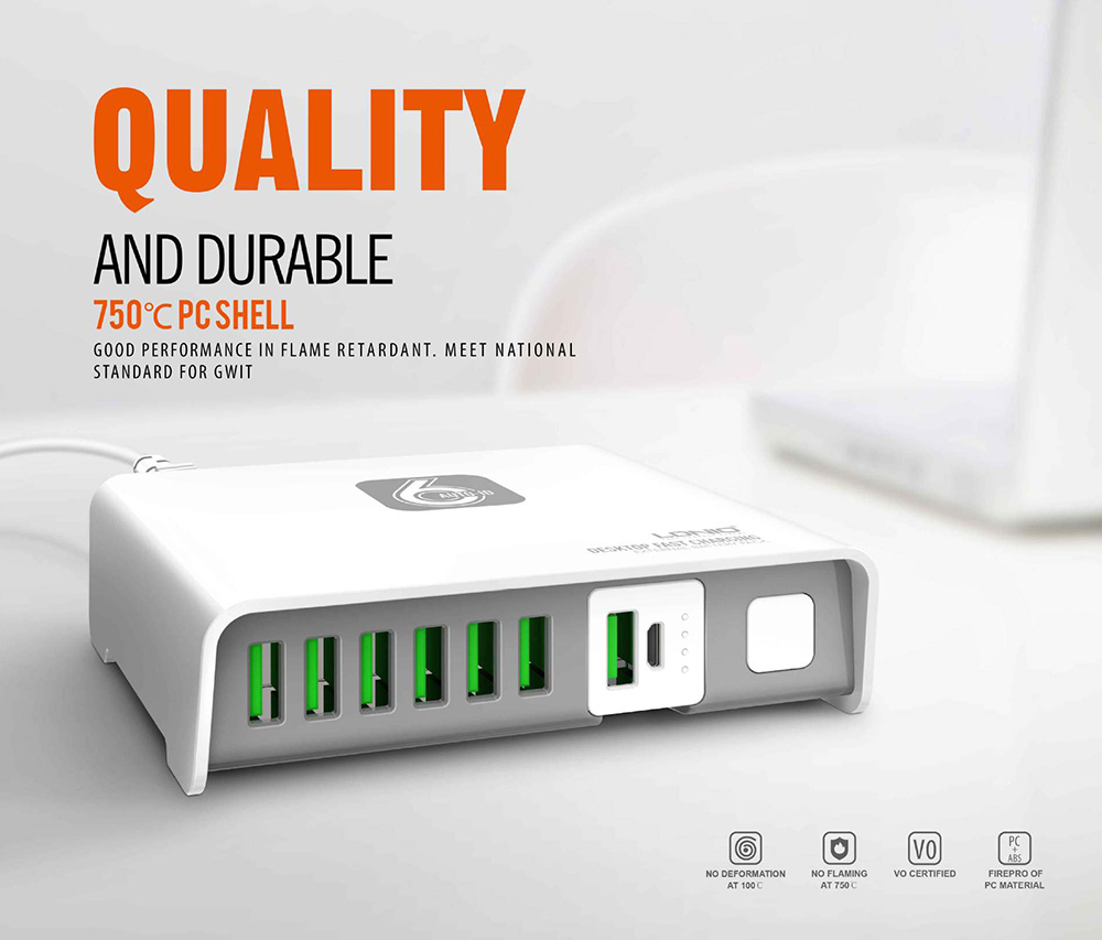 LDNIO A6802 6 USB Desktop Charger with 2600mAh Emergency Power Bank- White US Plug (2-pin)