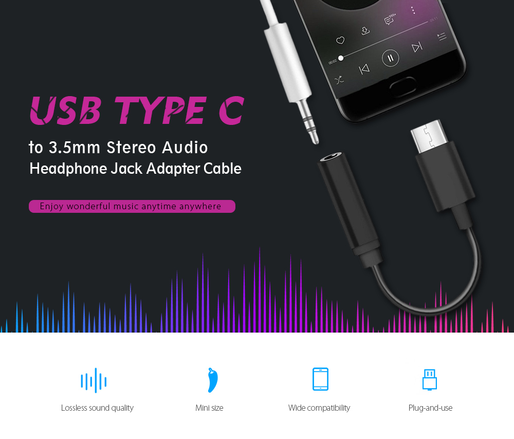Universal Usb Type C To 35mm Stereo Audio Headphone Jack Adapter Cable 3 5 Mm Plug Wiring Black
