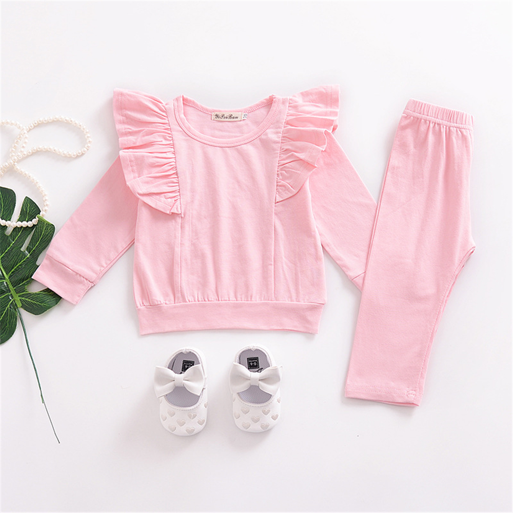 Children'S Clothing Girls Cotton Small Flying Sleeves Shirt + Pants Suit- Light Pink 70