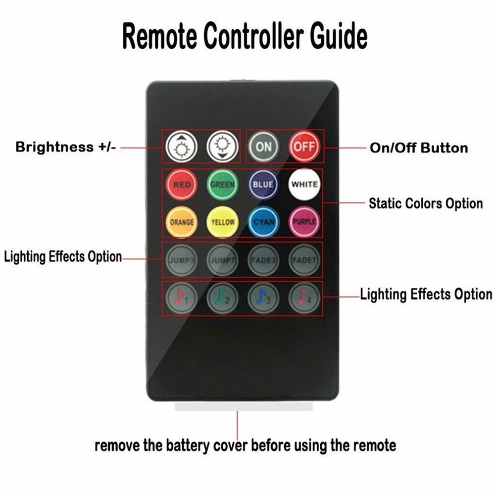 Car Interior Lights Strips RGB LED Neon Lamps Bars Sound-activated Music Control with Wireless Remote- Black