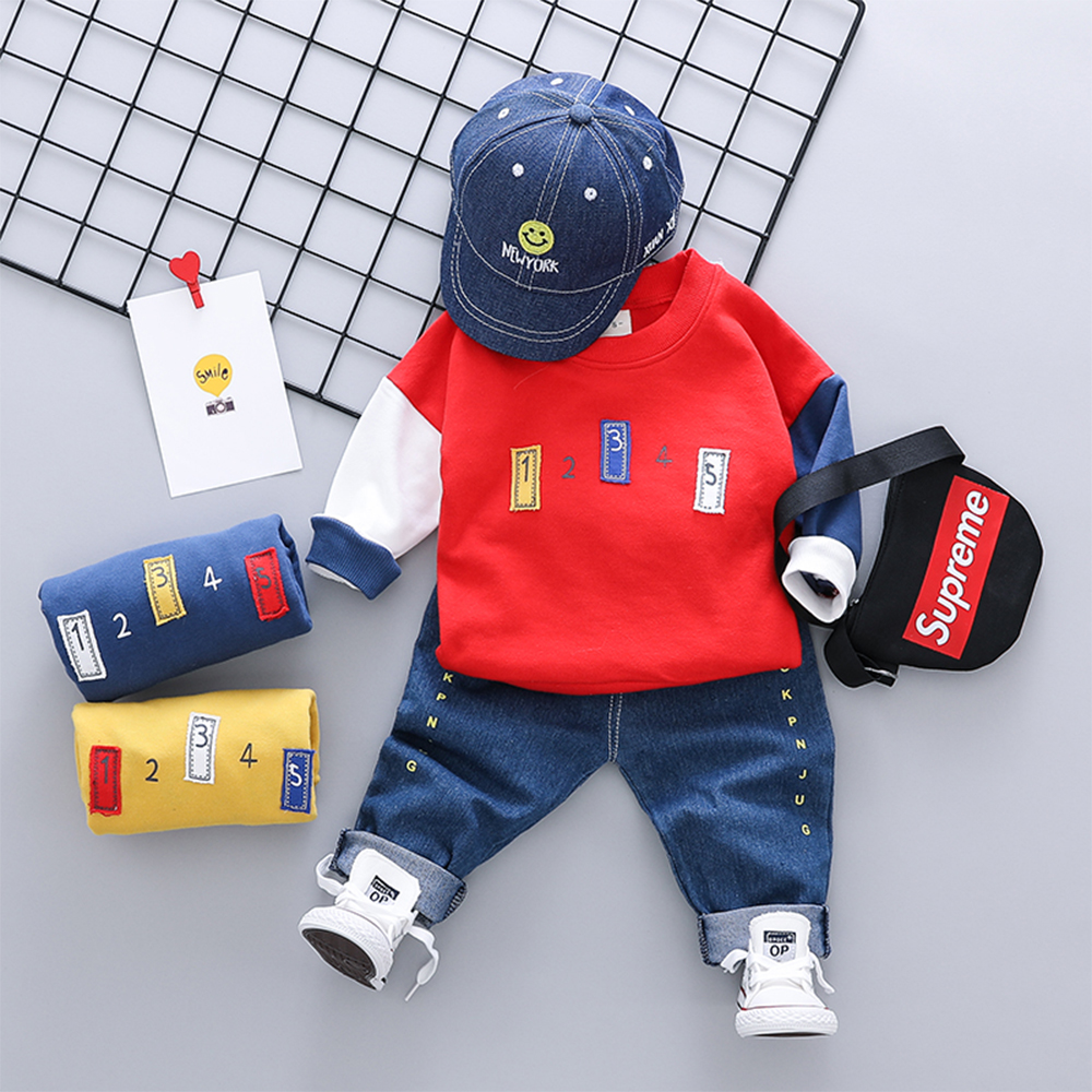 Baby Boy's 2 Pcs Set Letter Long Sleeve Top And Pants Baby Clothes- Red 100