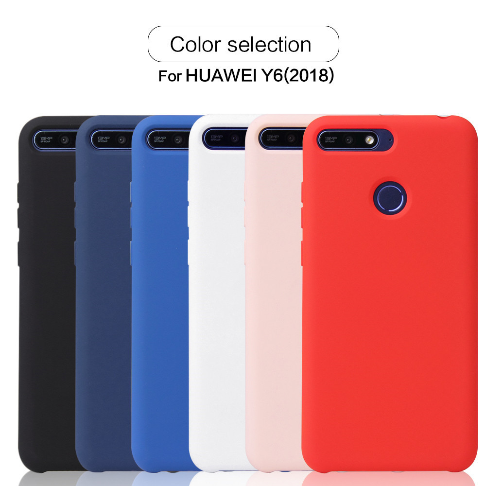 Silicone Protective Cover Case for Huawei Y6 2018- White