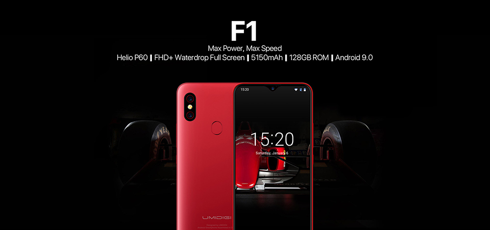 UMIDIGI F1 4G Phablet 6.3 inch Android 9.0 Helio P60 Octa Core 2.0GHz 4GB RAM 128GB ROM 16.0MP Front Camera Fingerprint Sensor 5150mAh Built-in European Union- Black European Union