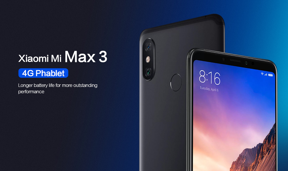 Xiaomi Mi Max 3 4G Phablet 6.9 inch Android 8.1 MIUI 9 Snapdragon 636 Octa Core 1.8GHz 4GB RAM 64GB ROM 12.0MP + 5.0MP Rear Camera Fingerprint Sensor 5500mAh Built-in- Black