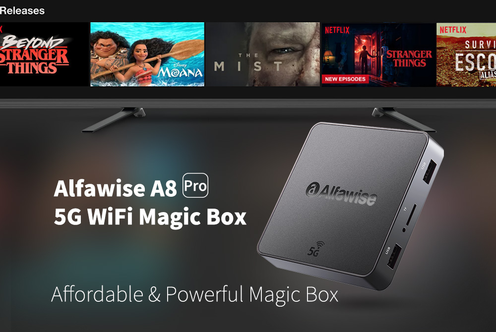 Alfawise A8 Pro 5G Wifi TV Box- Black EU Plug