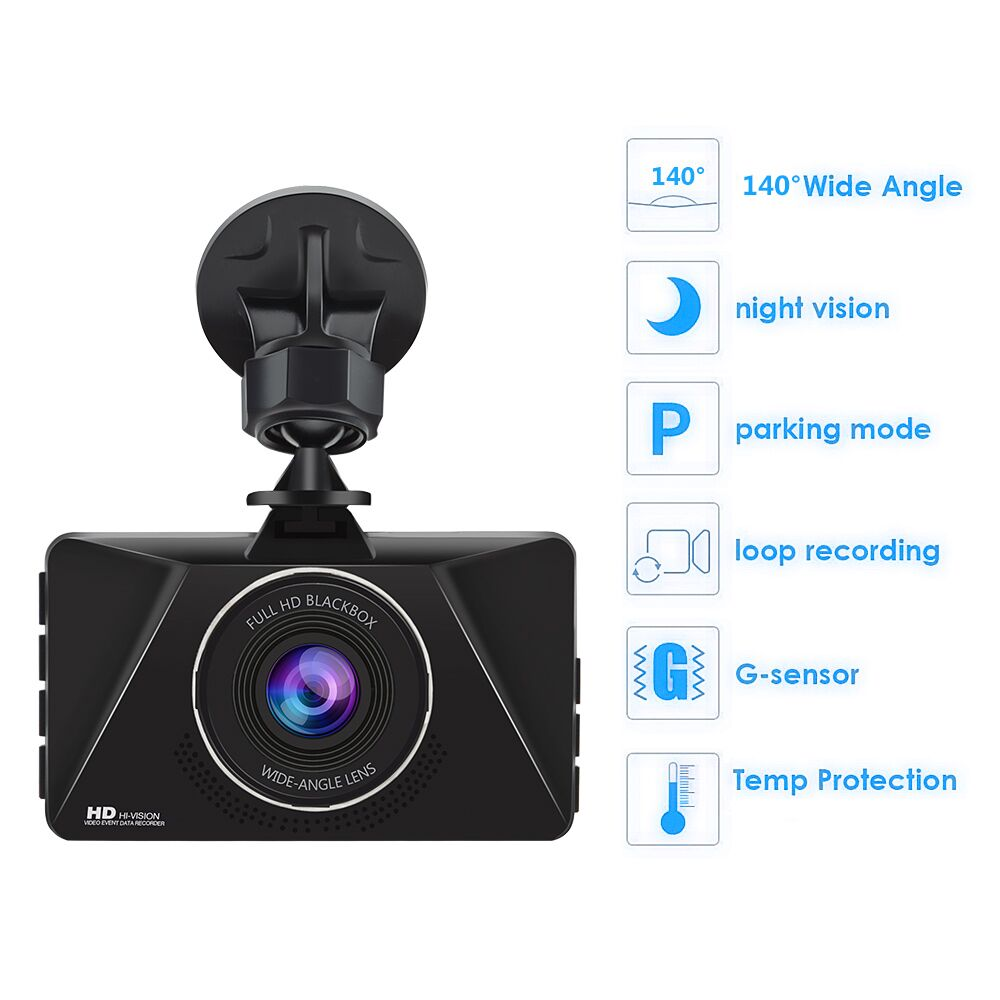 Alfawise Junsun Q5 Full HD 1080P 140 Degrees Wide Angle Car DVR Dash Cam- Black