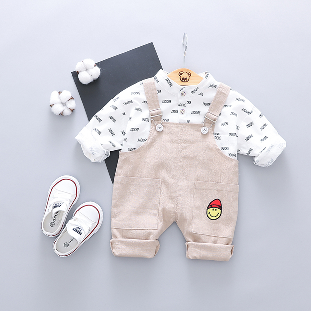 Baby's 2 Pcs Set Striped Basic Shirt + Cartoon Pattern Suspender Pants Sets- Goldenrod 90