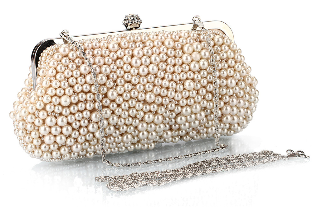 Fashion Pearl Bag Polyester Beads Hand Bag Worn Drill Dinner Packages- Black
