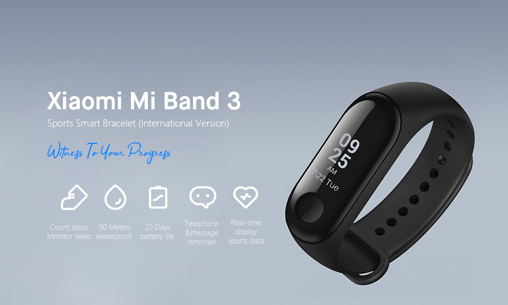 Xiaomi XMSH05HM Mi Band 3 Smart Bracelet Bluetooth 4.1 Wristband with Heart Rate Monitor Sleep Monitoring Functions- Black International Version