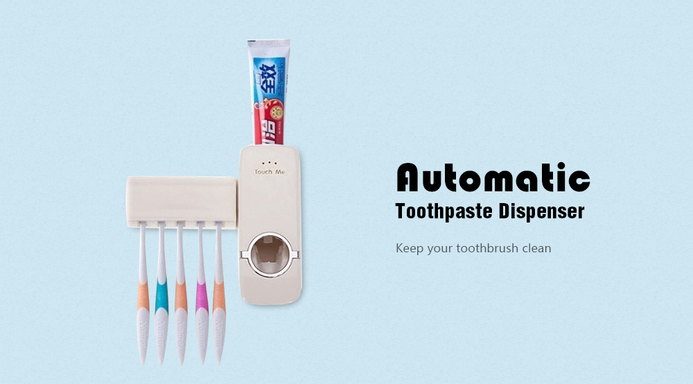 Automatic Toothpaste Dispenser Toothbrush Holder- Rose Red