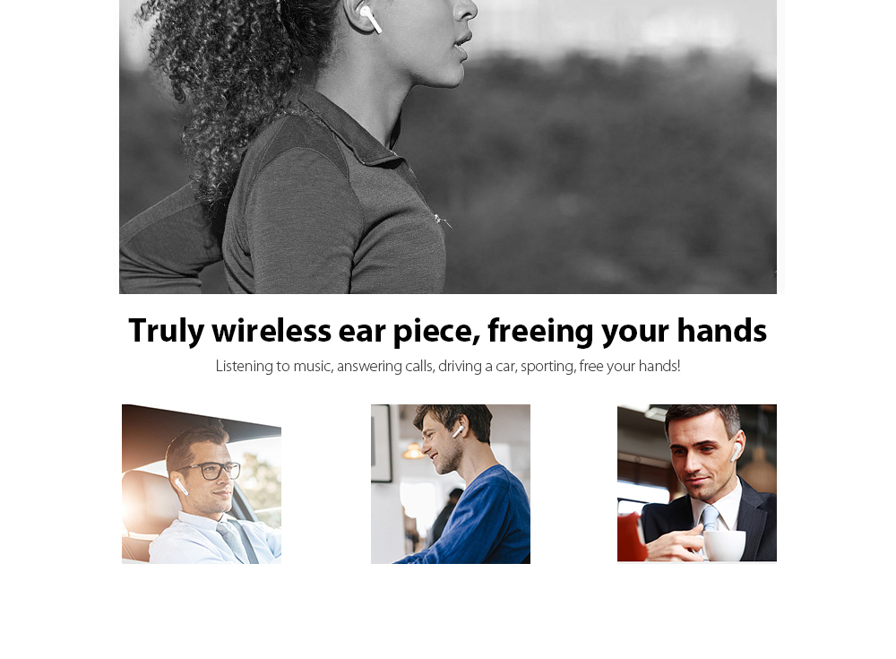 i10 Mini Bluetooth Binaural Earbuds Stereo In-ear Touch Control Earphone with Mic and Charging Dock- White
