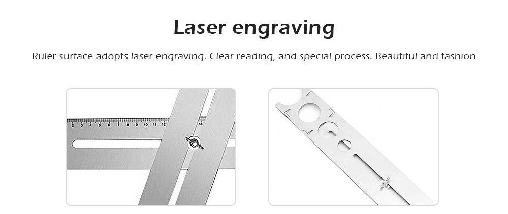 Multi-Functional Locator Puncher Adjustable Hole Position Ruler- Silver