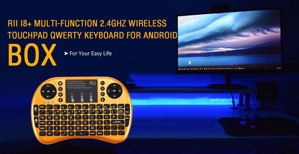 0c9844cf97a Rii i8+ Multi-function Mini 2.4GHz Wireless Touchpad Keyboard with Built-in  Battery