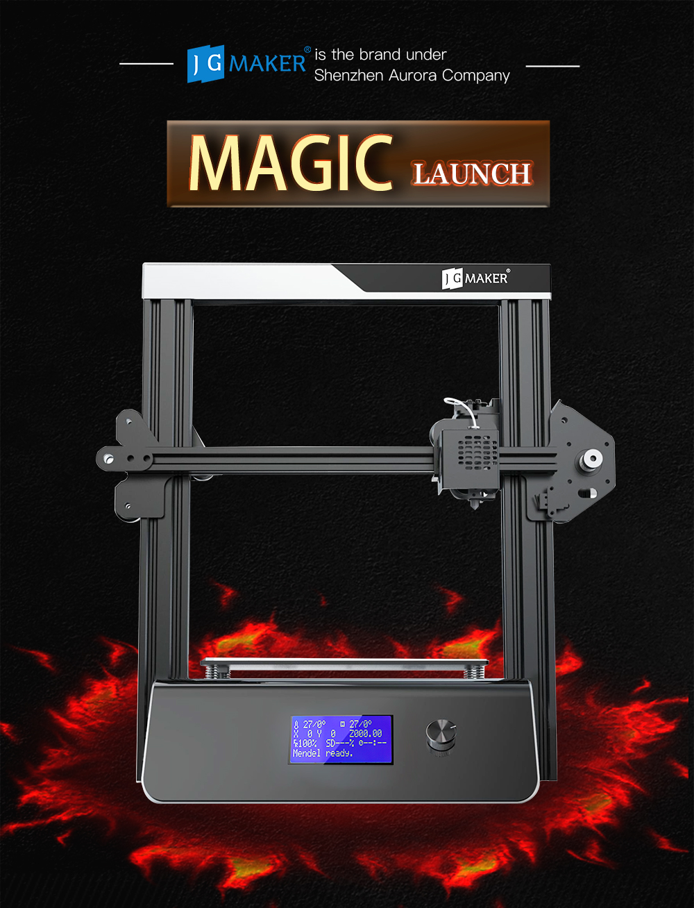 JGAURORA 3D Printer Majic  DIY 3D Printer Kit- Black EU Plug