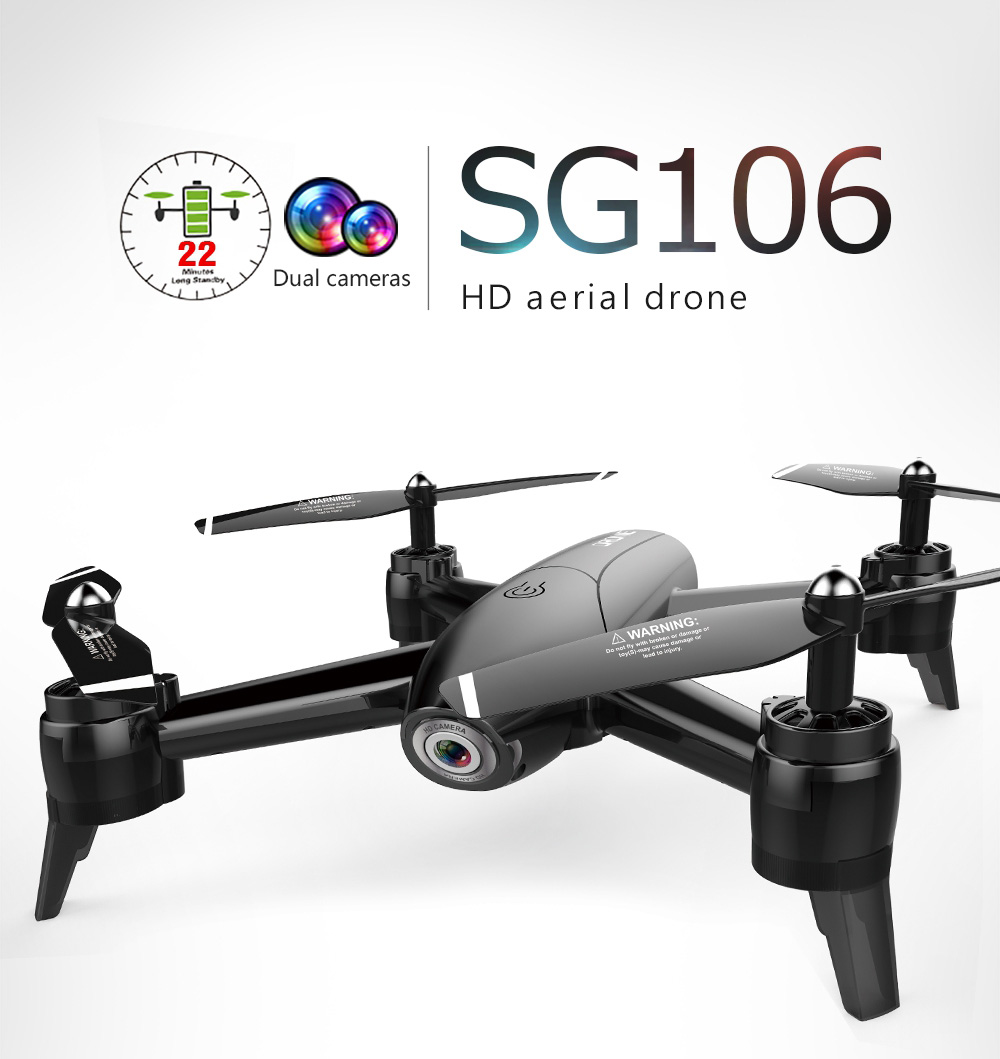 SG106 22mins Flight RC Drone - RTF Optical Flow / Altitude Hold HD Dual Cameras Gesture Photo UAV- White 1080P One Battery