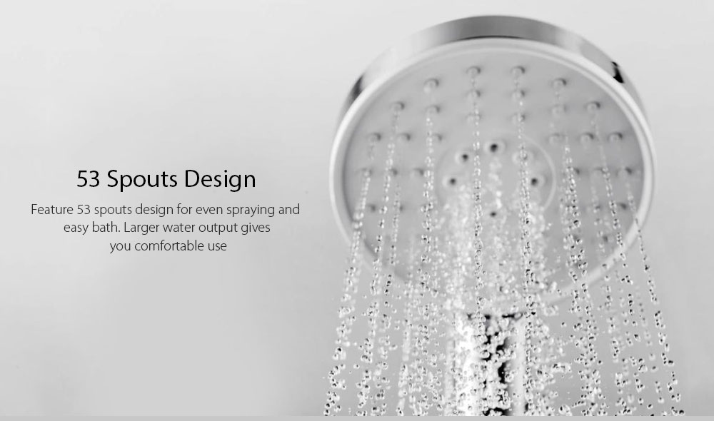 Diiib Shower Head Hose Set 3 Modes Adjustment 360 Degrees 120mm 53 Water Hole with PVC Matel from Xiaomi Youpin- Silver Single shower head