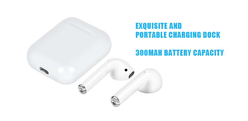 i12 Sports Wireless Bluetooth 5.0 Stereo Earphones with Charging Dock- White