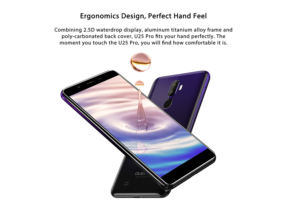 OUKITEL U25 Pro 4G Phablet 5.5 inch Android 8.1 MTK6750T Octa Core 1.5GHz 4GB RAM 64GB ROM 13.0MP + 2.0MP Rear Camera Fingerprint Unlock 3200mAh Built-in- Twilight