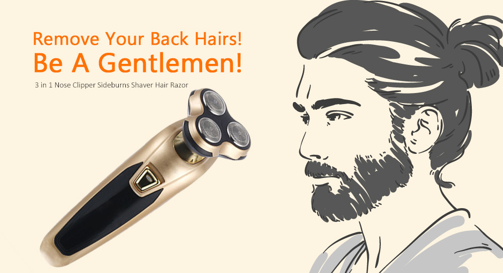 3 in 1 Multi-function Razor Nose Hair Trimmer Hair Clipper- Black Hardcover edition