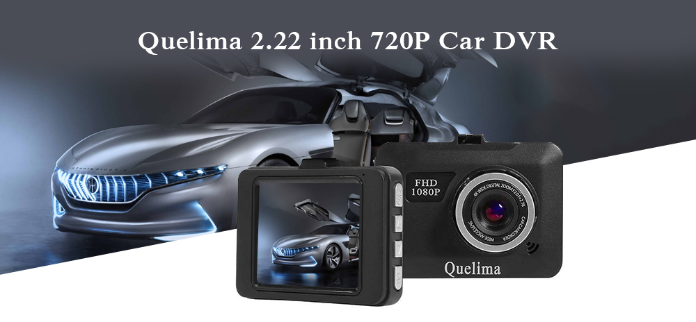 Quelima 2.22 inch 720P Car DVR Camera Video Recorder Loop Recording Dash Cam- Black