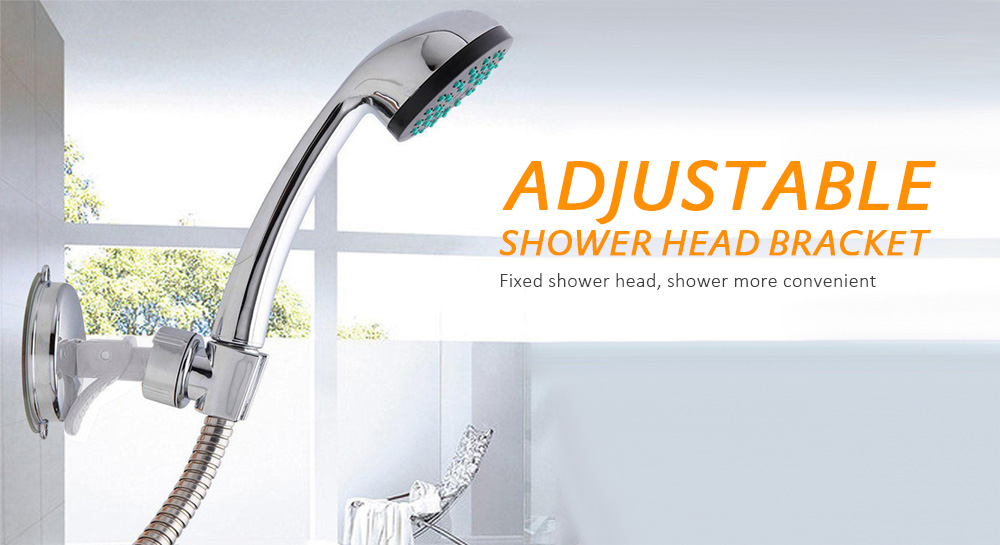 Bathroom Adjustable Shower Head Holder Suction Cup Fixed- Silver