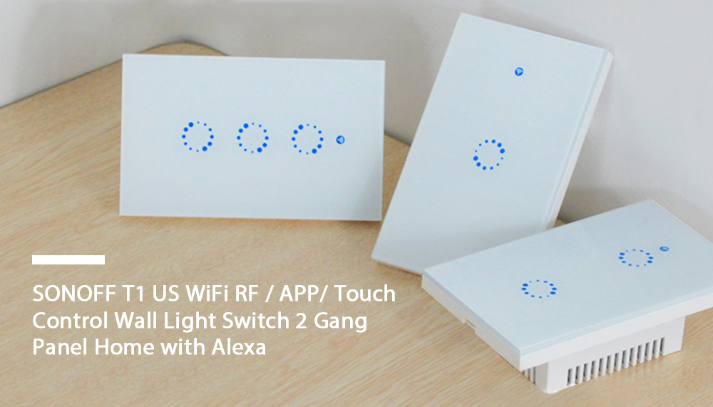 SONOFF T1 US WiFi RF / APP/ Touch Control Wall Light Switch 2 Gang Panel Home with Alexa- White