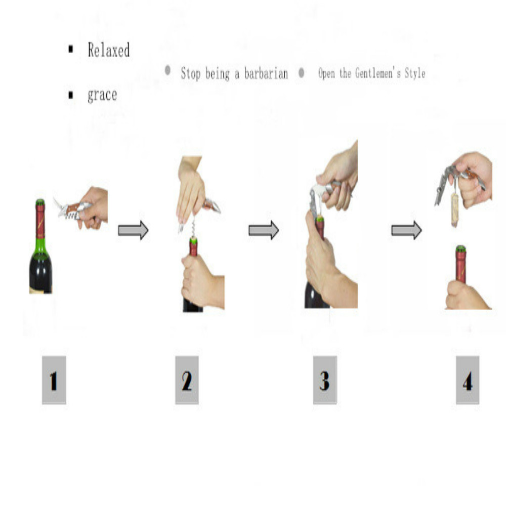 creative red wine wine sets stainless steel wine knife metal bottle opener-  gold pack of